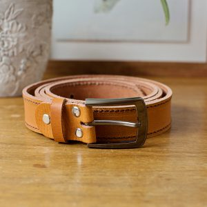 Tan Leather Belt with Buckle
