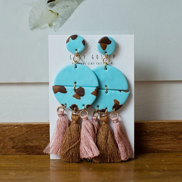 Clay Gossip Earthy and Turquoise with teasing tassels