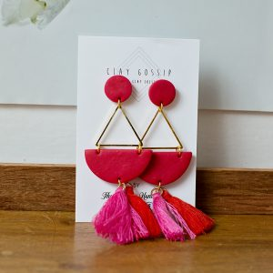 Clay Gossip Playful Pink & Red with tassels and a hint of Gold