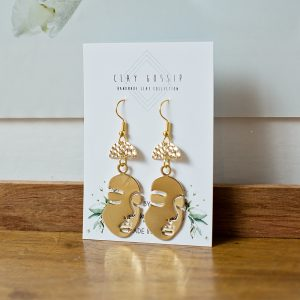 Clay Gossip Gorgeous in Gold Face earrings