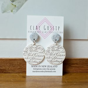 Clay Gossip Grey with Flirty Writing in circles earrings