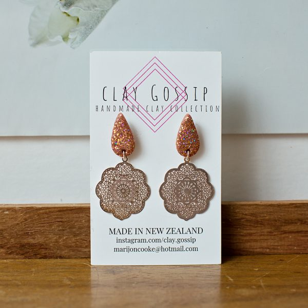 Clay Gossip Glamorous Rose Gold and Glitter earrings