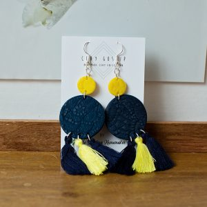 Clay Gossip Pretty in Navy and Yellow earrings with sassy tassels