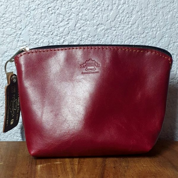 Ruby Leather Cosmetic Bag